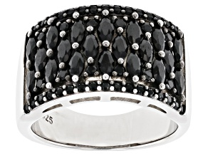 Pre-Owned Black Spinel Rhodium Over Silver Band Ring 1.89ctw