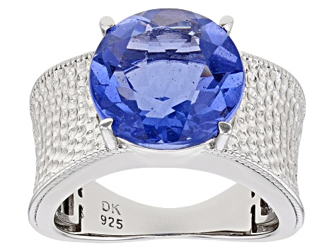 Pre-Owned Blue Fluorite Rhodium Over Silver Ring 7.01ct