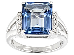 Pre-Owned Blue Turquoise™ color topaz rhodium over silver ring 5.96ctw