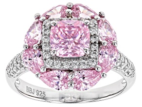 Pre-Owned Pink and White Cubic Zirconia Rhodium Over Sterling Silver Ring 5.23ctw