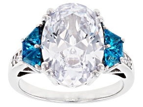 Pre-Owned Blue and White Cubic Zirconia Rhodium Over Sterling Silver Ring 10.53ctw