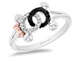 Pre-Owned Mickey & Friends Mickey And Minnie Mouse Ring Diamond Rhodium & 14k Rose Gold Over Silver