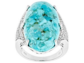 Pre-Owned Blue Turquoise Rhodium Over Silver Ring .69ctw