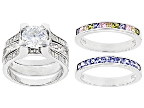 Pre-Owned Multicolor Cubic Zirconia Rhodium Over Sterling Silver Rings With Guard 6.53ctw