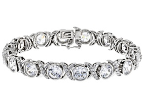 Pre-Owned Swarovski ® Heritage Cut White Cubic Zirconia Rhodium Over Sterling Silver Bracelet 39.31c