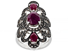 Pre-Owned Red Ruby Rhodium Over Sterling Silver Ring 3.35ctw
