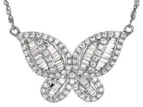 Pre-Owned White Cubic Zirconia Rhodium Over Sterling Silver Butterfly Necklace 3.61ctw