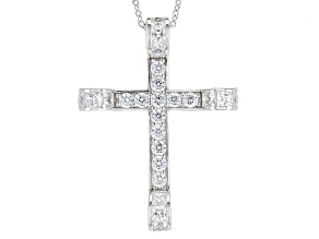 Pre-Owned White Cubic Zirconia Rhodium Over Sterling Silver Cross Pendant With Chain 5.76ctw