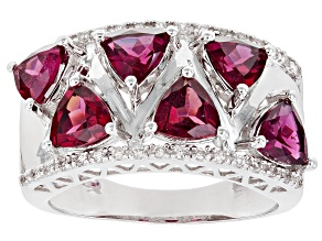 Pre-Owned Purple Raspberry Color Rhodolite Rhodium Over Silver Ring 2.79ctw