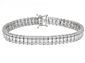 Pre-Owned White Cubic Zirconia Rhodium Over Sterling Silver Tennis Bracelet 19.24ctw