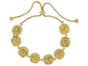 Pre-Owned 18K Yellow Gold Over Silver Rose A La Turca Bolo Bracelet
