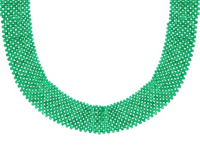 Pre-Owned Green Onyx Rhodium Over Sterling Silver Necklace