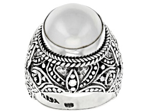 Pre-Owned White Cultured Mabe Pearl Sterling Silver Ring