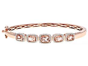 Pre-Owned Pink morganite 18k rose gold over silver bracelet 2.33ctw