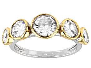 Pre-Owned White Cubic Zirconia Rhodium And 14K Yellow Gold Over Sterling Silver Ring 3.87ctw