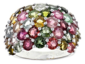 Pre-Owned Multi-Tourmaline Rhodium Over Sterling Silver Dome Ring 7.00ctw