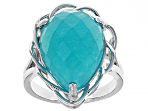 Pre-Owned Green Amazonite Rhodium Over Silver Ring
