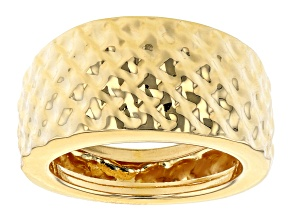 Pre-Owned Moda Al Massimo® 18K Yellow Gold Over Bronze Hammered Wide Band Ring