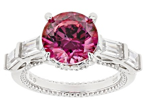 Pre-Owned Swarovski ® Red Zirconia & Whtie Cubic Zirconia Rhodium Over Sterling Silver Ring 8.49ctw