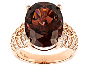Pre-Owned Blush, Champagne, and White Cubic Zirconia 18k Rose Gold Over Silver Ring 17.43ctw