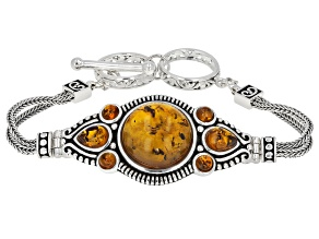 Pre-Owned Orange amber rhodium over sterling silver bracelet