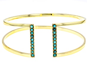Pre-Owned Turquoise Sleeping Beauty 18k Gold Over Silver Bracelet