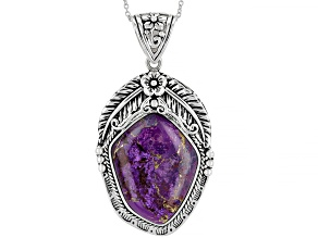 Pre-Owned Purple Turquoise Rhodium Over Silver Pendant With Chain