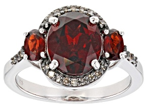 Pre-Owned Red Garnet Rhodium Over Silver Ring 3.68ctw