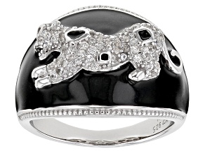 Pre-Owned White zircon rhodium over sterling silver panther ring .60ctw