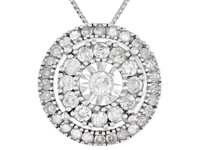 Pre-Owned White Diamond 10k White Gold Cluster Pendant With 18