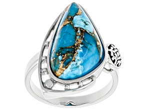 Pre-Owned Turquoise Rhodium Over Silver Solitaire Ring