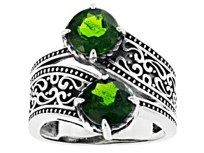 Pre-Owned Green chrome diopside sterling silver bypass ring 2.34ctw