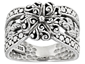 """Pre-Owned Sterling Silver """"Renewed Day By Day"""" Floral Ring"""
