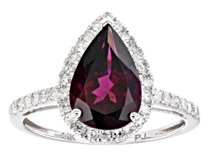 Pre-Owned Grape Color Garnet Rhodium Over 14k White Gold Ring 3.16ctw