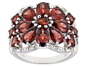 Pre-Owned Red Garnet Rhodium Over Silver Ring 5.24ctw