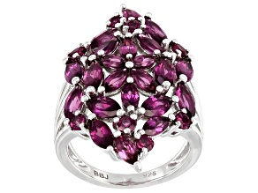 Pre-Owned Purple Raspberry Color Rhodolite Rhodium Over Silver Ring