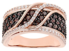 Pre-Owned Brown And White Cubic Zirconia 18k Rose Gold Over Silver Ring 3.13ctw (1.56ctw DEW)