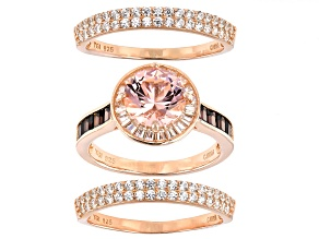 Pre-Owned Pink, Mocha, And White Cubic Zirconia 18K Rose Gold Over Sterling Silver Ring With Bands 4