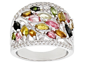 Pre-Owned Multicolor tourmaline rhodium over silver ring 2.30ctw