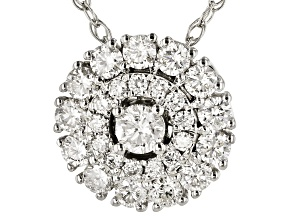 Pre-Owned White Diamond 10K White Gold Cluster Pendant With Rope Chain 0.60ctw