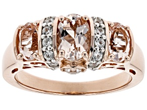 Pre-Owned Pink morganite 18k rose gold over silver ring 1.63ctw