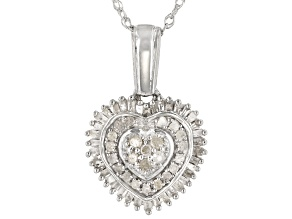Pre-Owned White Diamond Rhodium Over Sterling Silver Heart Cluster Pendant With Chain 0.50ctw