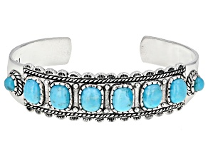 Pre-Owned Turquoise Cabochon Rhodium Over Silver Cuff Bracelet