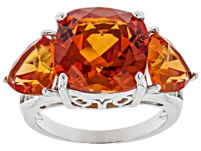 Pre-Owned Orange Lab Created Padparadscha Sapphire Rhodium Over Silver Ring 12.11ctw