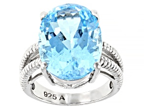 Pre-Owned Blue Topaz Rhodium Over Sterling Silver Ring 15.00ct