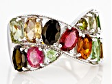 Pre-Owned Multi-Color Tourmaline Rhodium Over Silver Ring 4.30ctw