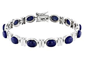 Pre-Owned Blue Lapis Lazuli Rhodium Over Sterling Silver Bracelet