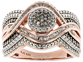Pre-Owned White And Champagne Diamond 14k Rose Gold Over Sterling Silver Cluster Ring 0.50ctw