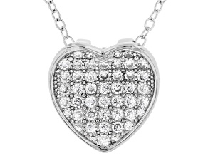 Pre-Owned White Cubic Zirconia Rhodium Over Sterling Silver Heart Pendant With Chain 0.64ctw
