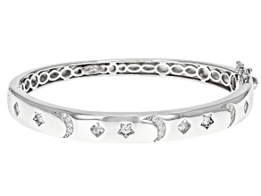 Pre-Owned White Cubic Zirconia Rhodium Over Sterling Silver Moon And Star Bracelet 1.63ctw
